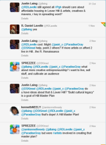 twitter convo on artists in Lower Hill