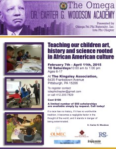 Flyer for 2015 Omega Dr. Carter G. Woodson Academy